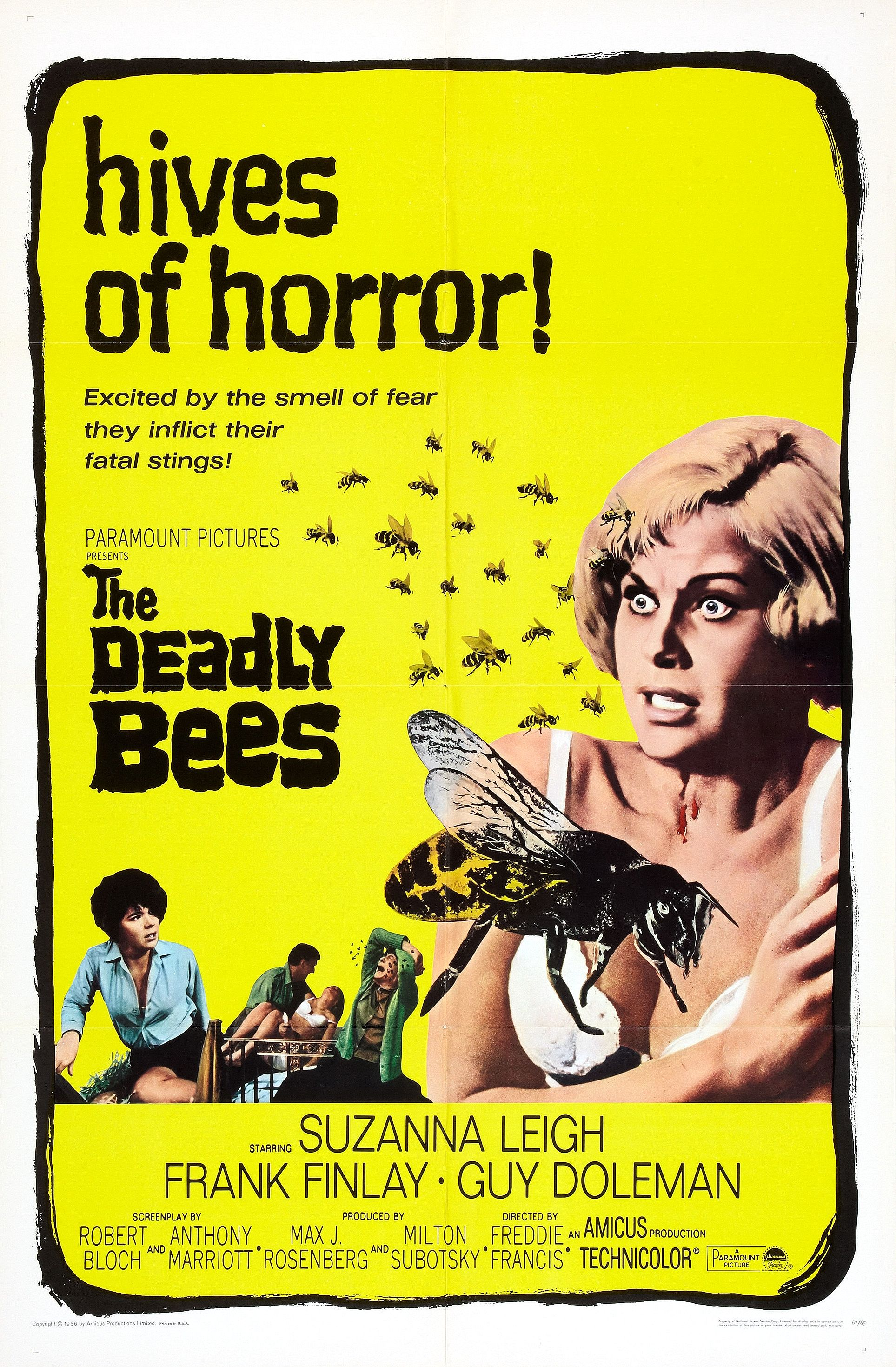 "The lead actress suzanna leigh is shown cowering as bees approach her, the tagline reads ""hives of horror!"