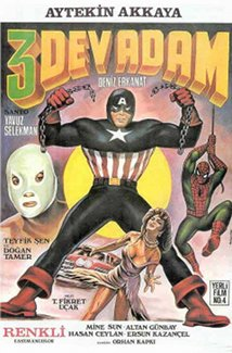 Captain America stands in front with El Santo on one side and Spiderman swinging in for the other. This poster is not representative of the movie at all.