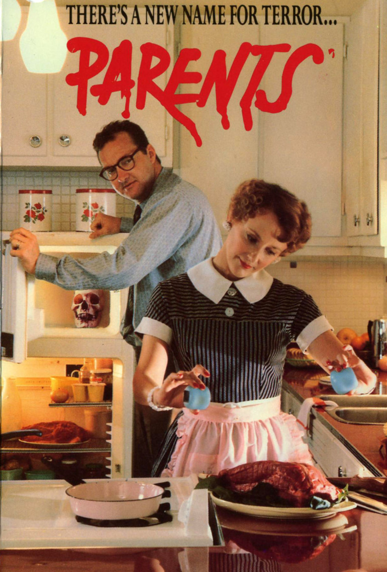 Randy Quaid and Mary Beth Hurt appear to be typical 50's parents as she works over a huge piece of meat and there's also a skull in the freezer...