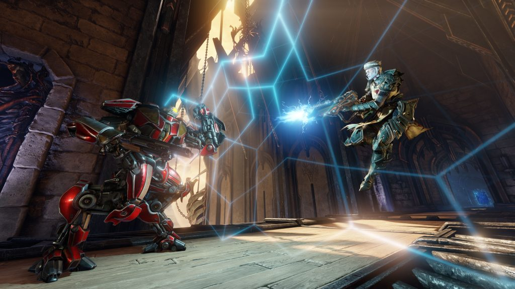 A shot from the new online multiplayer FPS Quake Champions as two of the signature characters use their weapons and abilities on each other against an ornate background resembling grand temple architecture