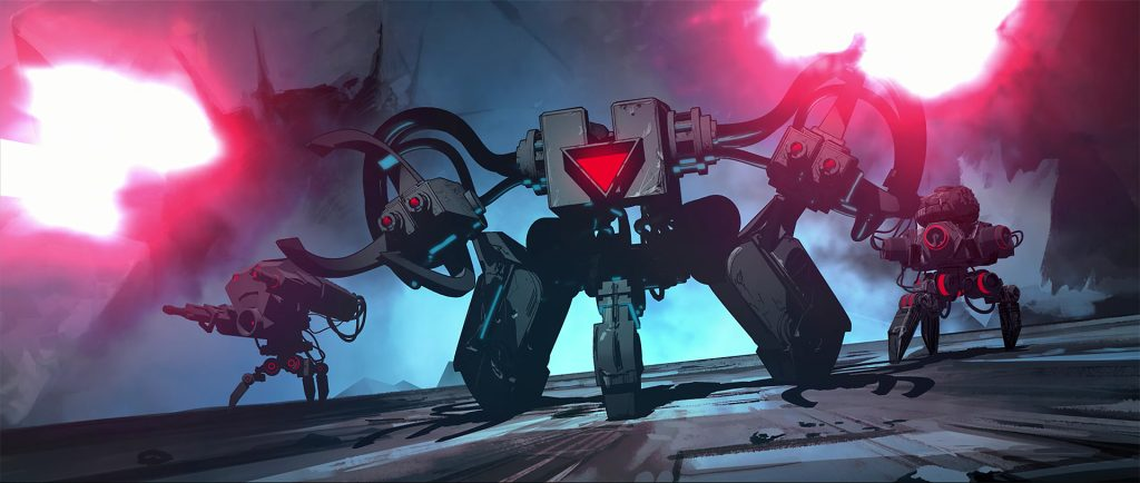 A picture from the animated introduction to the game Nex Machina which shows tripedal robots firing pink laser blasts from their arms. One robot leads the way with two behind it