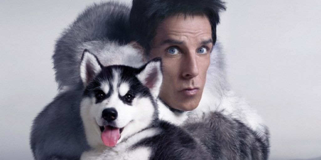 Ben Stiller as Derek Zoolander poses in a fur coat while holding a wolf cub