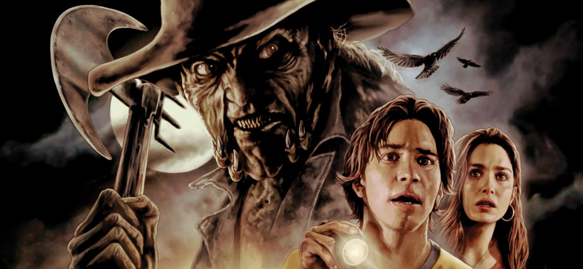 Darry played by Justin Long and Trish played by Gina Phillips look beyond the camera in horror while the Creeper, brandishing an axe, looms in the background of the image